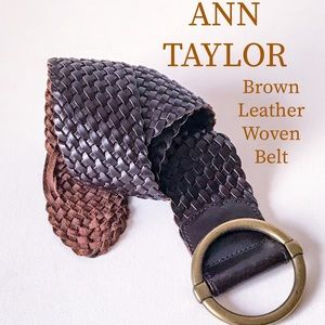 ANN TAYLOR Brown Leather Wide Woven Chic Belt